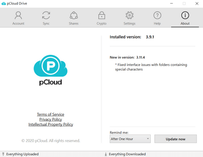 pCloud桌面版本的介面