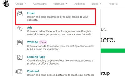 Mailchimp寄出email第一步驟