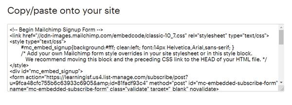 Mailchimp註冊表格收集名單第二步