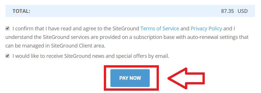 siteground確認條約並購買