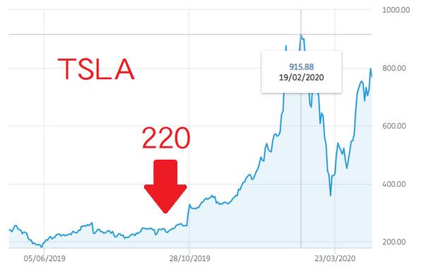TSLA 2019~2020股價