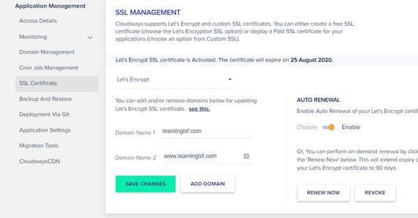 憑證安裝Cloudways的SSL