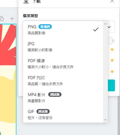 Canva所提供的檔案格式