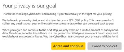 同意CyberGhost協議