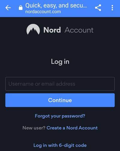 輸入Nord的帳號