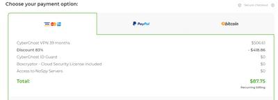 CyberGhost付款方式